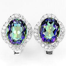 Sterling silver 925 Oval Blue Purple Fire Genuine Mystic Topaz Stud Earrings