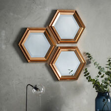 "Fawkner Set of 3 Hexagonal Ridge Frame Warm Copper Accent Wall Mirrors 16"" X 14"""