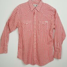 Genuine Roebucks Shirt Mens Red And White Check Western Long Sleeve Usa Size L