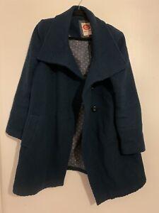 White Stuff Size 16 Wool Autumn Winter Coat Teal Mid Length
