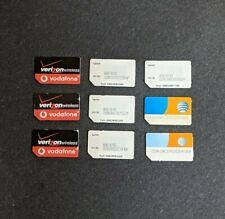 Lot of 9 Verizon/Vodaphone Sprint At&T 3G Sim Cards