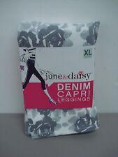 NWT Women's June & Daisy Denim Capri Leggings Size XL Tonal Rose #157D