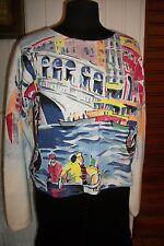 Pull épais coton maille blanc MICHAEL LEU LOS ANGELES 44/46 Imprimé tableau