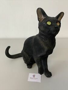 Black Cat Sitting Figurine Country Artists Hand-Painted Pottery #5666