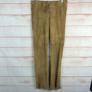 Bebe Brown Suede Western Lace Up Waist Flare Pants Sz 8 Leather C039