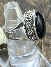 Barse Gala Night Ring- Onyx & Crystal- Sterling Silver-6-New With Tags