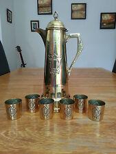 ART NOUVEAU laiton VIN/BORDEAUX carafe pichet + 6 verre détenteurs WMF jugendstil