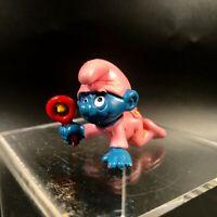 Vintage Smurfs Baby Smurf 20202 Pink Pajamas Rattle Figure PVC Peyo Figurine