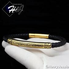 """8.25""""MEN WOMEN Stainless Steel Gold/Black Greek Key Leather Bracelet*GB93"""