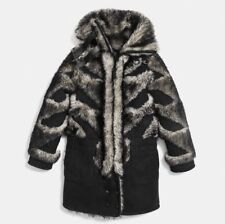 New Womens Coach Pierced Sheepskin Coat Size M Shearling/Leather Natural $2495