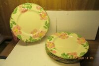 "6 Vintage 1947-49 Franciscan Desert Rose 9 1/2"" Luncheon Plates USA FREE SHIP US"