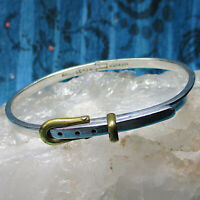 Vintage Taxco Mexico Sterling Silver 2 tone Buckle Hinged Bangle Bracelet