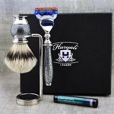 3 Piece Mens Shaving Grooming Set Silvertip Brush & 5 Edge Razor Perfect Gift
