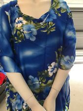 Maori  Design Kaftan Dress fits plus lady - blue