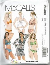 McCall's Sewing Pattern 5400, 2 Piece Bathing Suit and Cover Up, Size 4 - 12 New