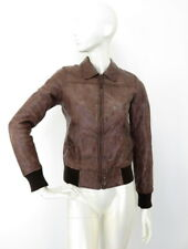Maison Scotch Real Leather Brown Womens Jacket size S