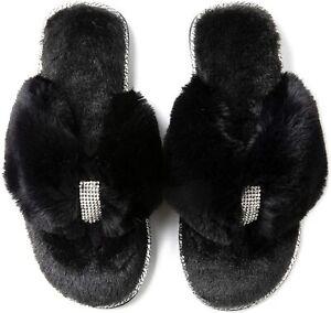 RockDove Women's Rhinestone Faux Fur Flip Flop House Slipper with Memory Foam