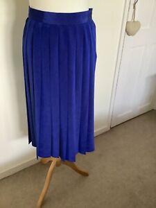 St Michael M/&S Vintage 80s Wrap Navy Blue Long Straight Smart Lined Midi Skirt 12 Office Secretary Work