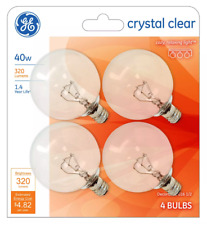 4 GE 40-Watt G16 1/2 Crystal Clear Globe Bulbs w/Candelabra Base - 320 Lumens