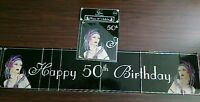 Deco Happy 50th Birthday Black & Silver Foil Party Banner Decoration - 9 ft/2.7m