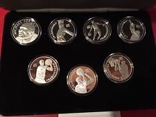 MICHAEL JORDAN LEGEND UPPER DECK 7 COIN SET 999 SILVER COINS SUPER RARE SHARP