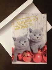 Paper Craft CHRISTMAS Holiday Cards- Box Of 12 New- Gray Kittens Cats Ornaments