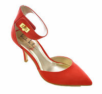 Nicole Miller Young Women's New York Sexy Wide Strap Slim Ankle Sandals Red, 10