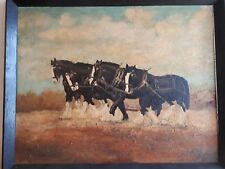 Antique Oil Painting Original Farm Shire Horses Ploughing Field Signed Almond 75