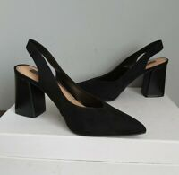 Black Suede Slingback Shoes BNWOB Size UK 5 EU 38 Chunky Heel F&F