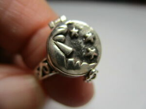 STERLING SILVER 925 NEW CRESCENT MOON STARS POISON PILL BOX BAND RING SIZE 9 NWT
