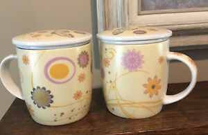 Tea Mug with Infuser and Lid Yellow Mod Floral and Butterflies 2 Piece Set 12 oz