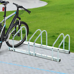 HOMCOM 3 Bike Parking Stand Bicycle Storage Floor Mount Steel Pipe Holder Cycle