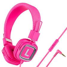 Kanen Women Gilrs Kids Adults Headphones With Mic Foldable Adjustable 3.5mm Pink