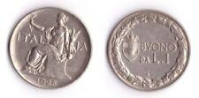 1928 Vittorio Emanuele III Buono Lire 1 Italia Seduta Nichelio Vendita Multipla