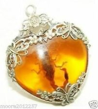 Rare Wondrous Magical Tibet silver Man-made amber scorpion necklace pendant