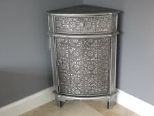 Blackened Silver Embossed 1 Drawer Corner Table  Cabinet side table Marrakesh