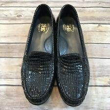 SAS Womens Size 7.5 S Narrow Simplify Black Patent Leather Croc Slip On Loafers