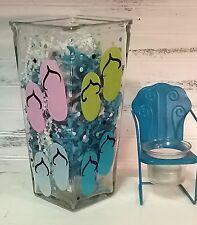 Hand Painted Glass Flip Flop Flower Vase Summer Decor Wedding Table Centerpiece