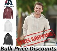 J. America Mens Relay Fleece Hooded Sweatshirt Pullover 8649 up to 3XL