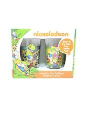 Nickelodeon Glass And Ice Cube Tray Combo Rugrats Cat Dog Hey Arnold Rocco Ren