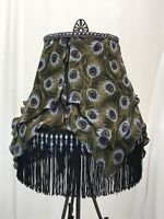 "Victorian Art Deco Style Lamp Shade Peacock Feather Purple Blue Black Fringe 14"""