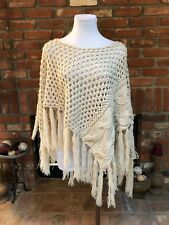 Willow and Clay BoHo CHIC Oatmeal Versatile Fringe Poncho Shawl Cape size Small