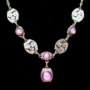 Vintage Miracle Pendant Necklace, Scottish Celtic, Pink Glass Moonstone, Signed