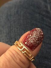 Tone Greek Style Fashion/Dress Band Ring Pretty Size P Medium Lightly Used Gold