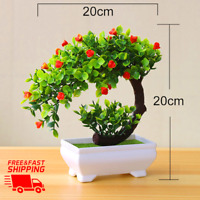 Fake Bonsai Artificial Potted Plant Decor Home Tree Plants Garden Pot Flowers