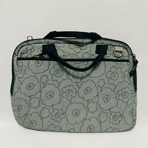 Thirty One Toiletry Travel Case Bag Gray Quilted Poppy Floral 2 Compartments