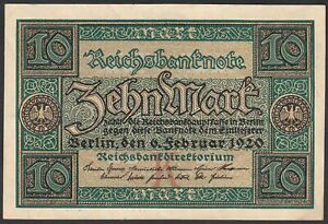 1920 10 Mark Germany Old Vintage Paper Money Banknote Currency Bill Rare in UNC