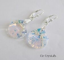 SeaShell Scallop Earrings made with Swarovski Crystal AB & Sterling Silver