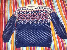 vintage Strickpulli hippie Strickpullover Wolle crazy pattern oldschool strick M