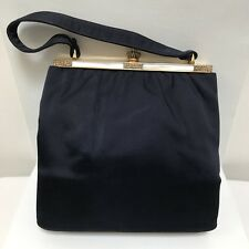 Vintage Rosenfeld Purse Blue Satin Faux Mop Top Handle Handbag Satin lined